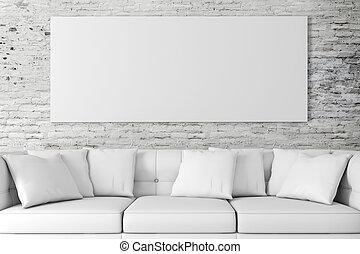 bl, intérieur, installation, 3d, divan