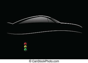 bl, voiture, blanc, sedan, silhouette