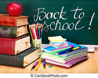 blackboard., livres école, supplies.