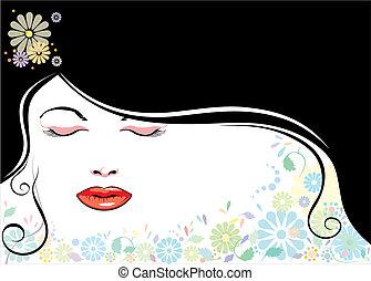 blackhair, figure, fleur