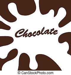 blanc, éclaboussure, chocolat