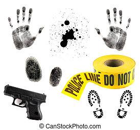 blanc, éléments, multiple, crime