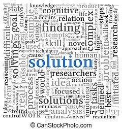 blanc, étiquette, mot, solution, nuage