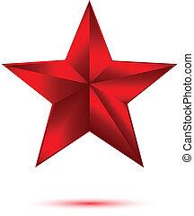 blanc, étoile, rouges, 3d