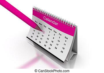 blanc, 3d, calendrier, bureau