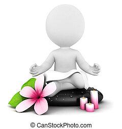 blanc, 3d, méditation, gens