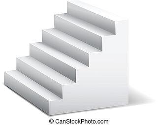 blanc, 3d, stairway.
