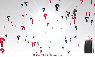 blanc, animation, screen., marque, question, fond, lot, rouges, 4k, 3d, vert, noir, en mouvement