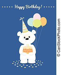 blanc, anniversaire, ours, carte, teddy