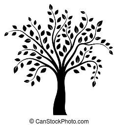 blanc, arbre, isolé, fond
