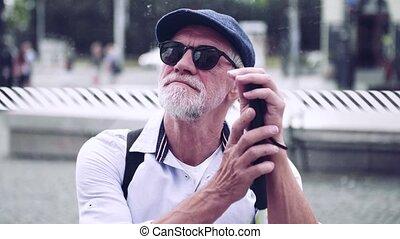 blanc, arrêt, aveugle, attente, autobus, city., canne, personne âgée homme