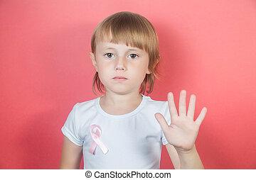 blanc, arrêt, poitrine, girl, cancer, ruban, projection, signe, avertissement, peu, t-shirt
