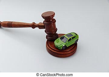 blanc, arrière-plan., enchère, marteau, concept, vente, voiture, sentence., ou, juge, accident