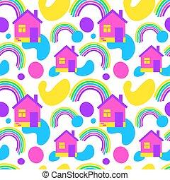 blanc, arrière-plan., maison, modèle, doux