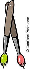 blanc, arrière-plan., peinture, vecteur, multicolore, illustration, brosse