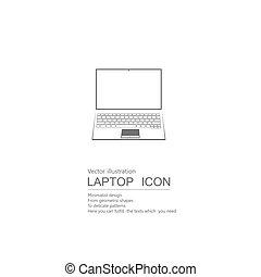 blanc, arrière-plan., vecteur, laptop., isolé, dessiné