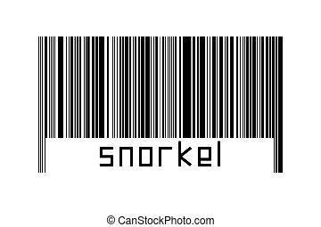 blanc, au-dessous, fond, barcode, snorkel, inscription