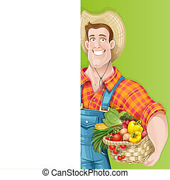 blanc, bannière, vertical, grand, mignon, jeune, panier, paysan, type, légumes