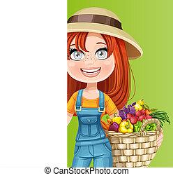 blanc, bannière, vertical, grand, mignon, panier, paysan, légumes, femme