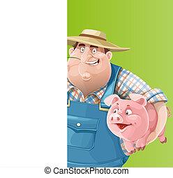 blanc, bannière, vertical, vieux, mignon, cochon, paysan