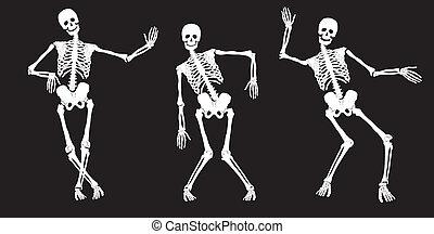 blanc, black., danse, squelettes