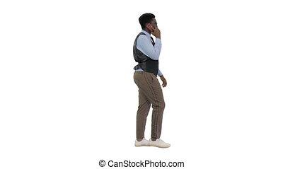 blanc, business, conversation, sourire, quoique, américain, marche, jeune, téléphone, homme, arrière-plan., africaine
