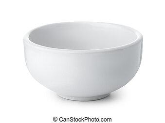 blanc, céramique, bol, vide