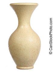 blanc, céramique, isolé, jaune, vase