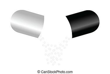 blanc, capsules, isolé, fond, une