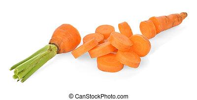 blanc, carotte, isolé, fond