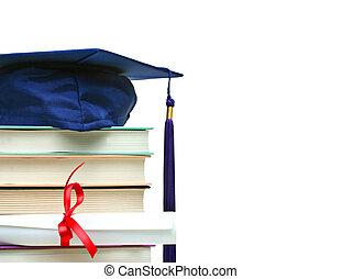 blanc, casquette, livres, diplôme, pile