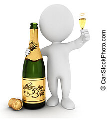 blanc, champagne, 3d, gens