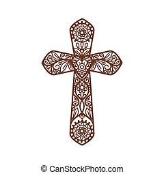 blanc, chrétien, croix, orné
