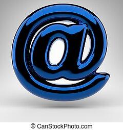 blanc, chrome, signe, surface., symbole, bleu, lustré, arrière-plan., 3d