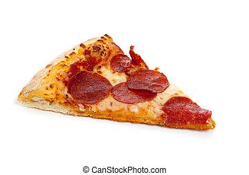 blanc, couper, pizza pepperoni