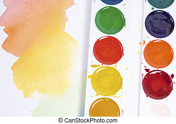 blanc, coups, pinceaux, aquarelle, palette, papier, sommet, peintures, coloré, vue, brosse