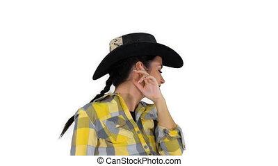 blanc, cowgirl, danse, jeune, arrière-plan.