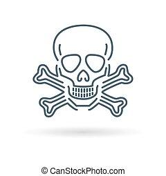 blanc, crâne, fond, icône