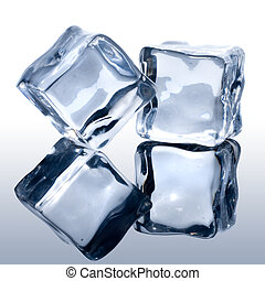 blanc, cubes, glace