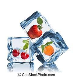 blanc, cubes, isolé, glace, fruits
