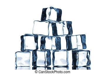 blanc, cubes, isolé, glace