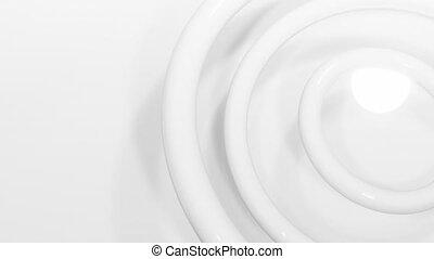 blanc, en mouvement, 3d, contre, spirale, bobine, fond