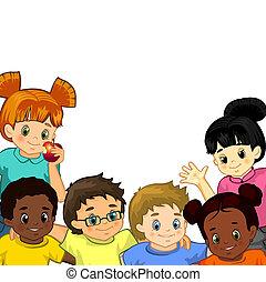 blanc, enfants, fond