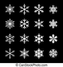 blanc, ensemble, flocons neige