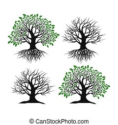 blanc, ensemble, fond, arbres