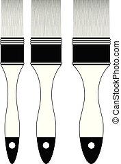 blanc, ensemble, isolé, fond, brosse