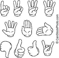 blanc, ensemble, noir, dessin animé, mains