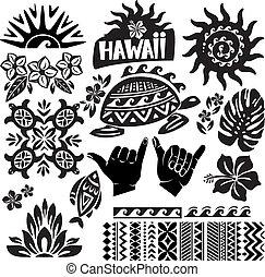 blanc, ensemble, noir, hawaï