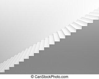 blanc, escalier, vide