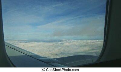 blanc, fenêtre, mouche, aérien, jet, vue, avion, rapidement, moteur, nuages, pelucheux, par